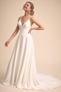 Image 2 - Simple & Charming V คอชุดแต่งงานลูกไม้กลับชุดเจ้าสาว vestido de Festa de casamento