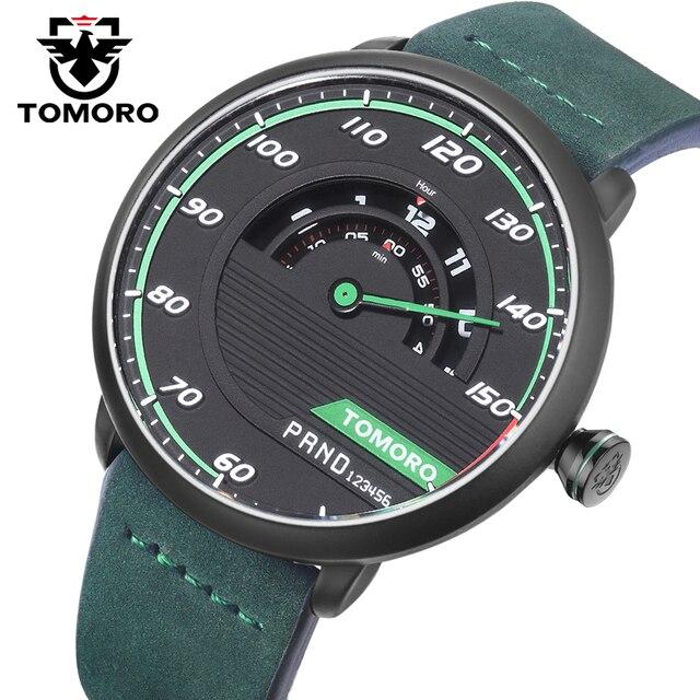 TOMORO Men's Unique Racing Car 3D Design Cow Leather Strap Luxury Fashion Sports Black Quartz Wrist Watch 2017 Brand New TMR1017