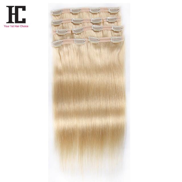 Superior 7A Color #613 Clip en extensiones brasileñas del pelo 100% pelo humano de Remy Clip en las extensiones 7 unids/set 100 g/set virgen del pelo Clips