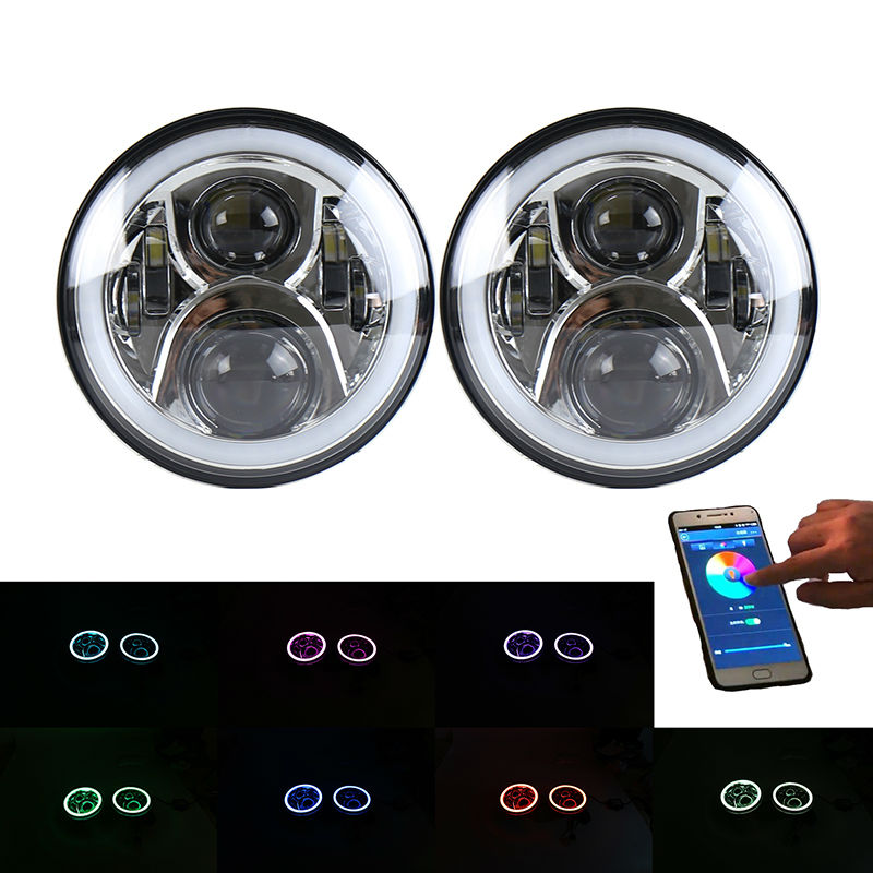 A Pair 7 inch Led Headlight RGB Halo Angel Eyes 7inch Headlamp Bluetooth Remote Flashing for Jeep Wrangler JK LJ Hunmmer H1 H2