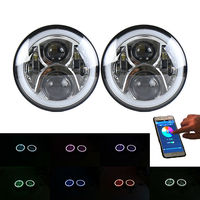 A Pair 7 Inch Led Headlight RGB Halo Angel Eyes 7inch Headlamp Bluetooth Remote Flashing For