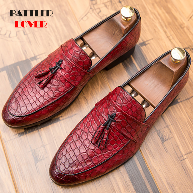 2019 Men Casual shoes breathable Leather Loafers Office Shoes For Men Driving Moccasins Comfortable Slip on Tassel Fashion Shoes