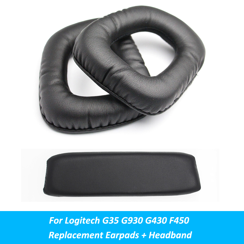 Black Replacement Ear Pads Cushion Earpads + Headband Parts For Logitech G35 G930 G430 F450 Headphones Accessory image