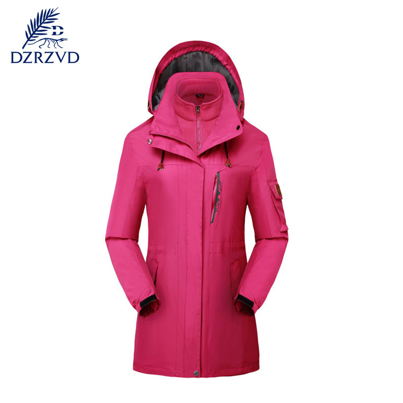 ФОТО Outdoor windproof snow defence keep warm jacket Women fleece jacket climbing skiing two-piece outfit Long dust coat jacket
