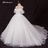 Vestidos دي novias قبالة الكتف قارب الرقبة مطوي الدانتيل تصل الكرة ثوب الأميرة ثوب الزفاف