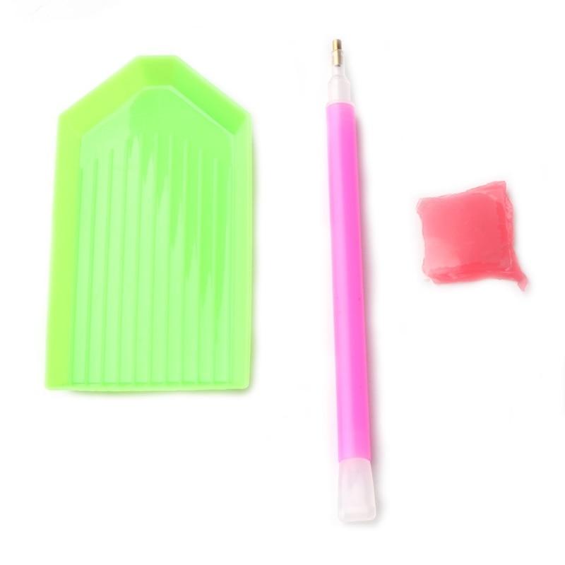 3pcs/set Nail Art Dotting Pen & Rhinestone Picker Gel Cube Plate Manicure Tool Pro