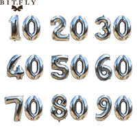 40 inch Birthday party Gold sliver aluminum foil number Balloons 10 20 30 40 50 60 70 80 90 years Anniversary DIY decoration