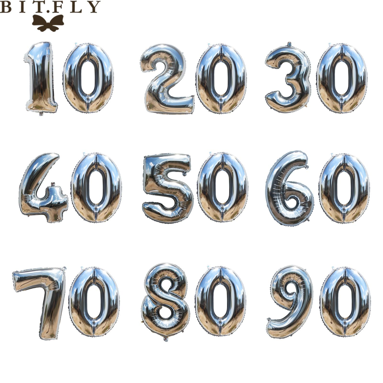 Ballons numéros en aluminium pour fête danniversaire | Fête danniversaire de 40 pouces, or argent 10 20 30 40 50 60 70 80 90 ans, décoration de bricolage