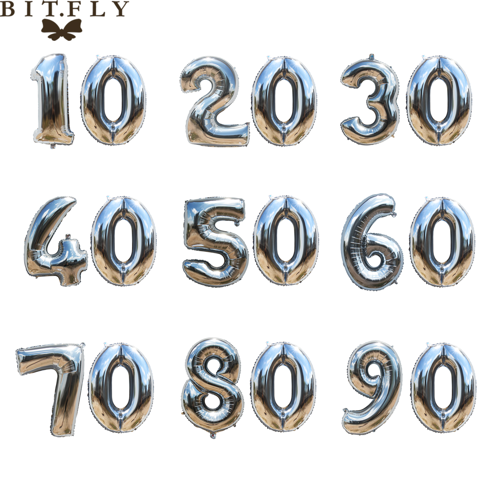 40 inch <font><b>Birthday</b></font> <font><b>party</b></font> Gold sliver aluminum foil number Balloons 10 20 30 40 50 60 <font><b>70</b></font> 80 90 years Anniversary DIY decoration image