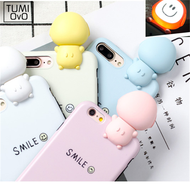 3D Luxury Cartoon LED USB Charge Case for iPhone 6 6s 7 Plus Back Phone Fill Light Cell Phone Selfie Soft TPU Silicon Cases