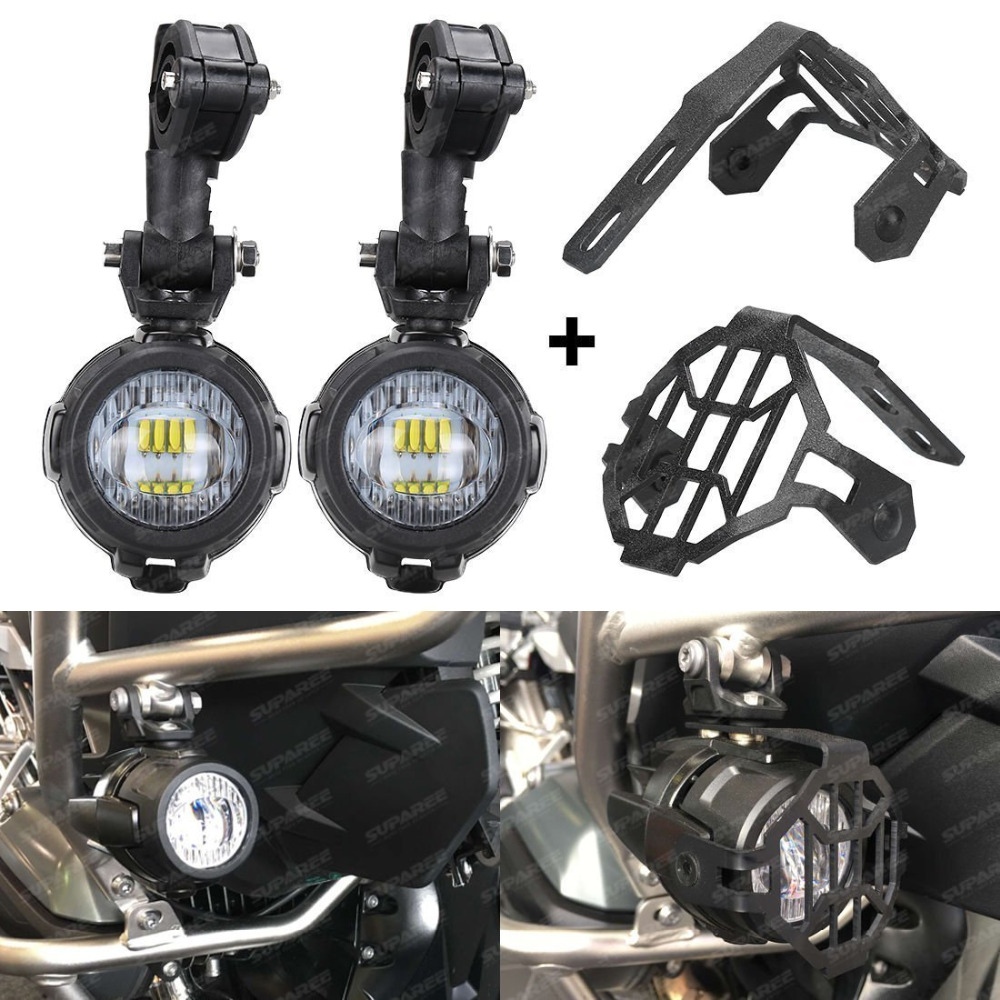 SUPAREE 1 Set Universal Motorcycle LED Auxiliary Fog Lamp Assembly With Cover And Switch Cable 40W Motorbike LED Headlamp 6000K