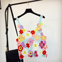 Women Summer Short Vest Sexy Hollow Out O Neck Colorful Flower Lace Sleeveless Crop Tops Crochet