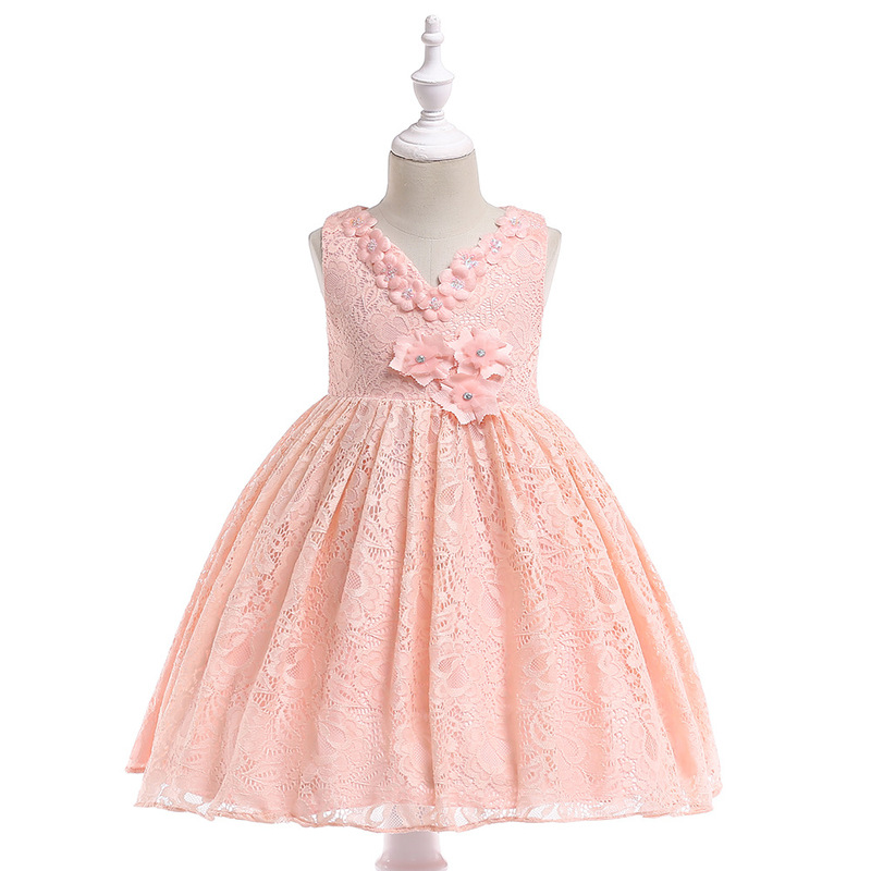 Children's Clothing Lace V-neck Flowers <font><b>Dress</b></font> Zip Girl Clothes Cotton Child Princess <font><b>Cocktail</b></font> <font><b>Kids</b></font> <font><b>Dresses</b></font> for Girls GDR557 image