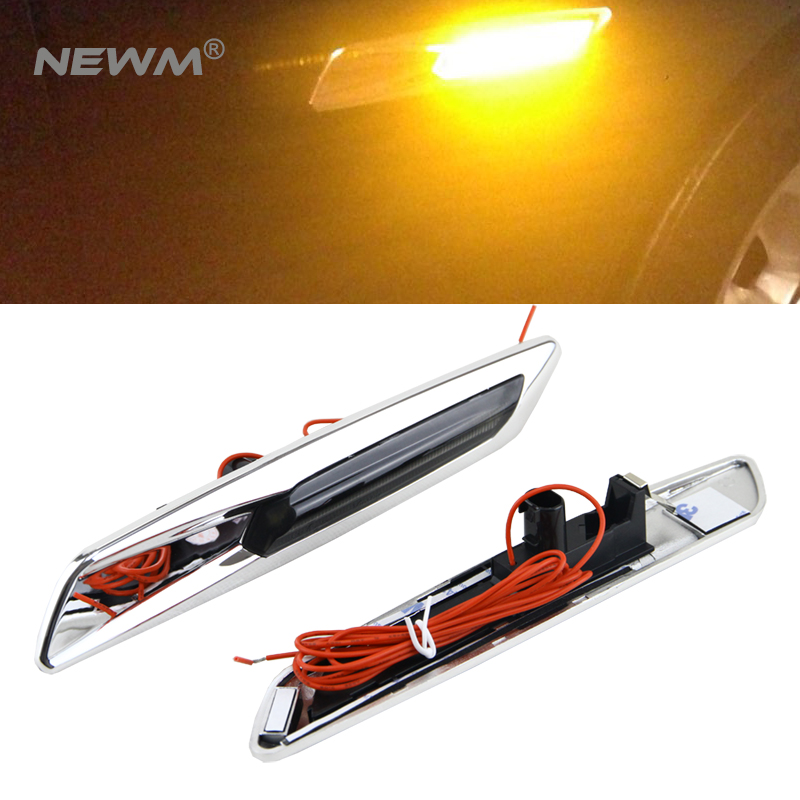 Amber LED Chrome Finish Side Marker Lights Fit for BMW E60 E61 E81 E82 E83 E87 E88 E90 E91 F10