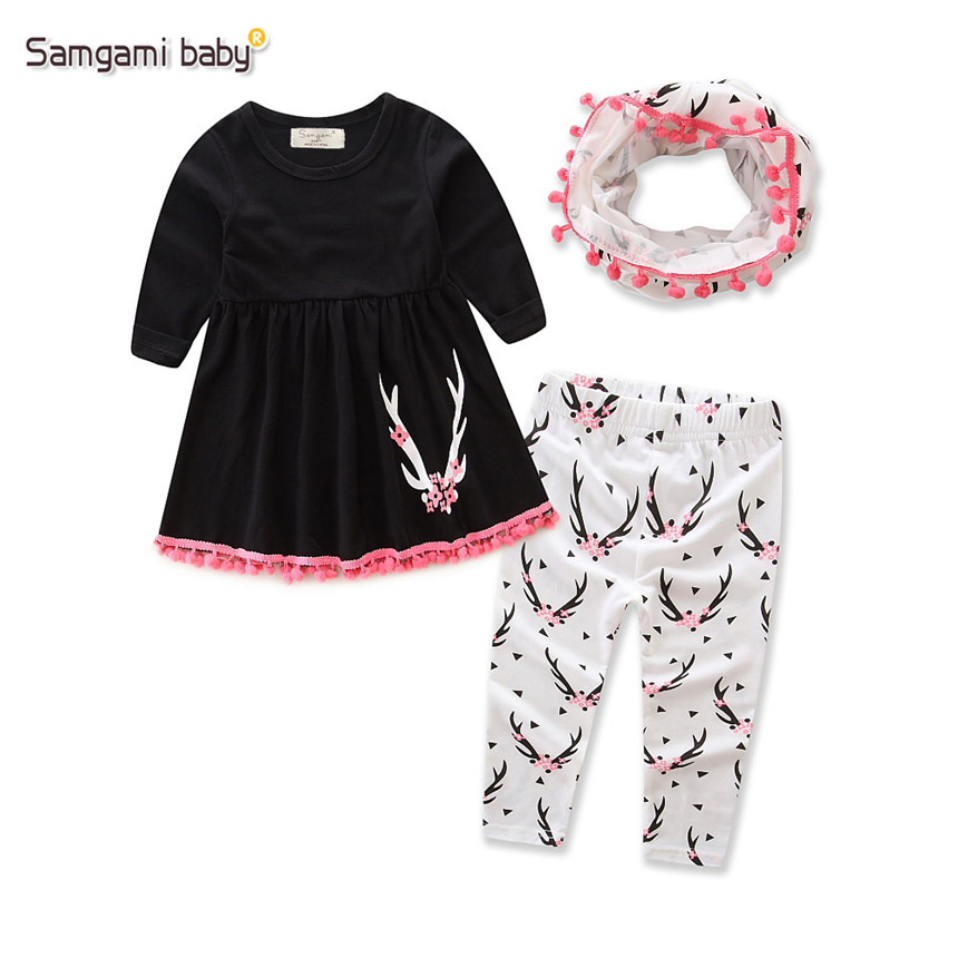 SAMGAMI BABY 2017 Autumn Fashion Girls Clothes Cotton Black Tops Printed Pants Free scarf 3pcs Suits Baby Girl Clothing Set 1-5Y baby girls clothes raglan tops v day raglan girls red heart raglans autumn top girls valentines day icing raglans tshirt