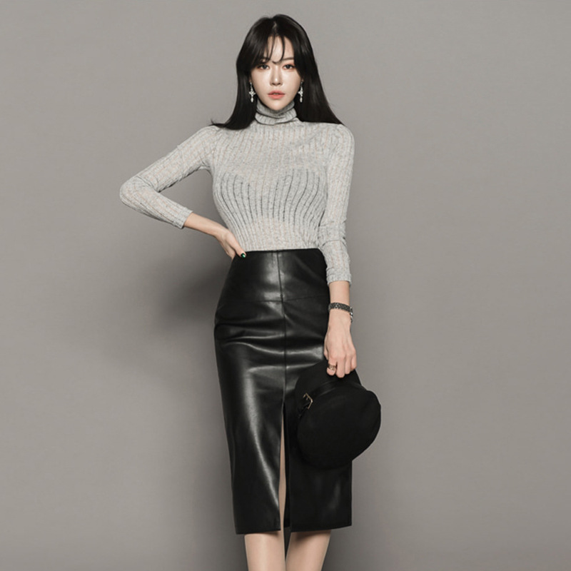 2 Piece Set Women Suit Spring Office Gray knitting Blouse Shirt Tops and PU leather Pencil Skirts Crop Top and Skirt Vestidos