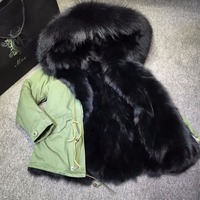 Black Big Furs Front Luxry Big Furs Collar Fox Fur Girls Winter Party Wear Zipper Khaki Short Length Furs Coat