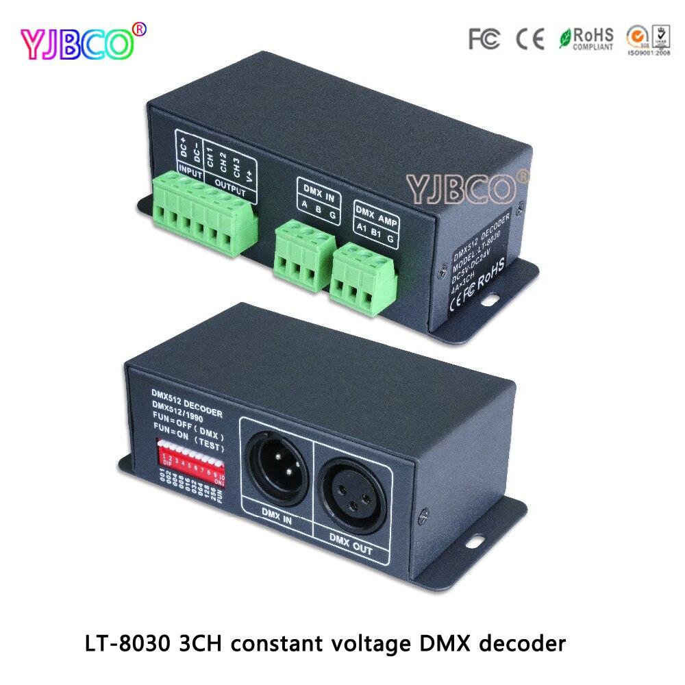 led comtroller LT-8030 LED constant voltage DMX-PWM Decoder DC5-24V input;4A*3 channel output for led lamps kvp 24200 td 24v 200w triac dimmable constant voltage led driver ac90 130v ac170 265v input