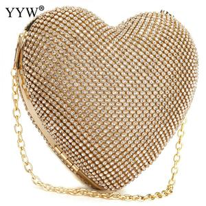 Image 5 - Full Luxury Diamond Evening Bags Heart Shape Gold Clutch Bag Purse Women Rhinestone Banquet Bag Day Clutch Female 3 Color New