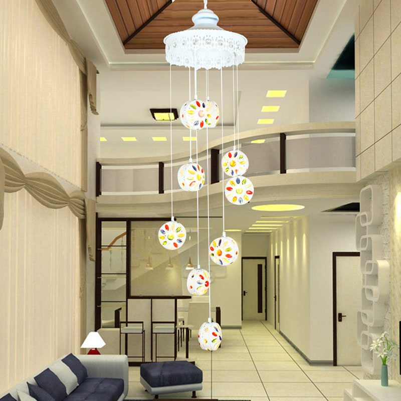 T Mediterranean Style White Crystal Pendant light Fashion Lamps Stairs Living Room Balcony Home Lighting white crystal pendants chandeliers lights vintage pendant lamp for living room bedroom europe style pendant lamps home lighting