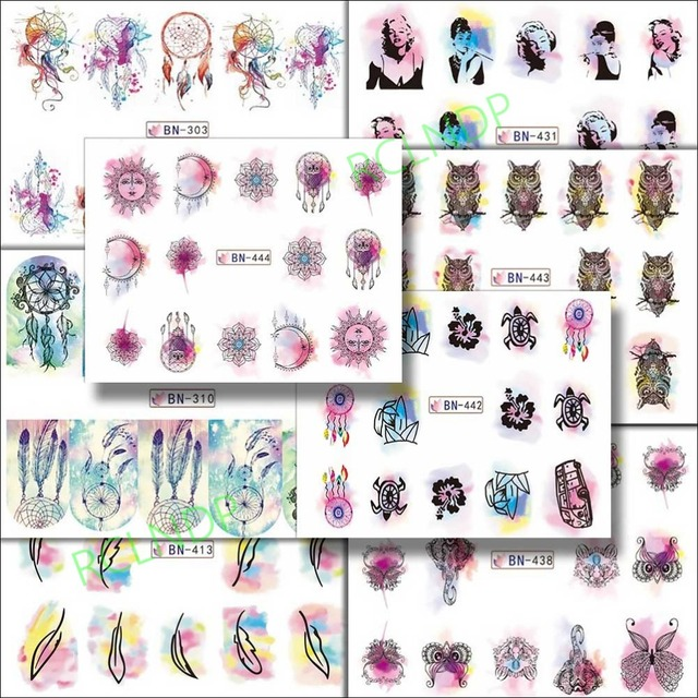 Water sticker for nail art decoration slider feather tortoise ganesha owl sun moon girl nail design