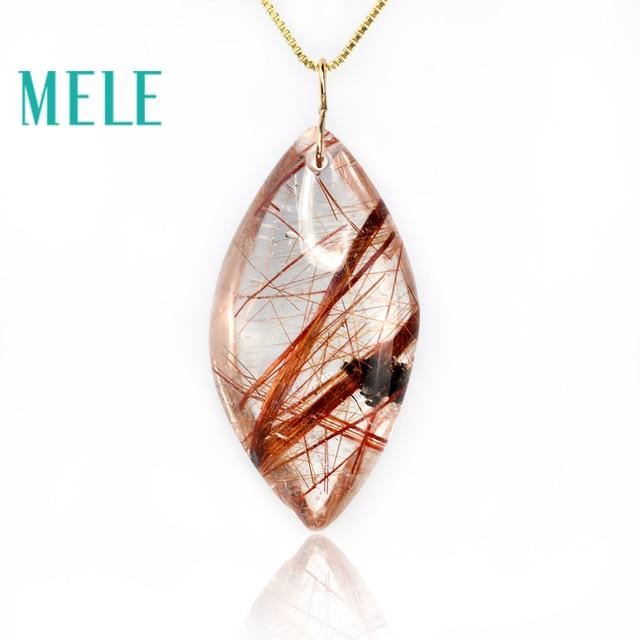 טבעי גן קריסטל אמיתי 18 k זהב תליון לנשים וגבר, אדום צבע מים drop צורת ghost hairstone תכשיטים