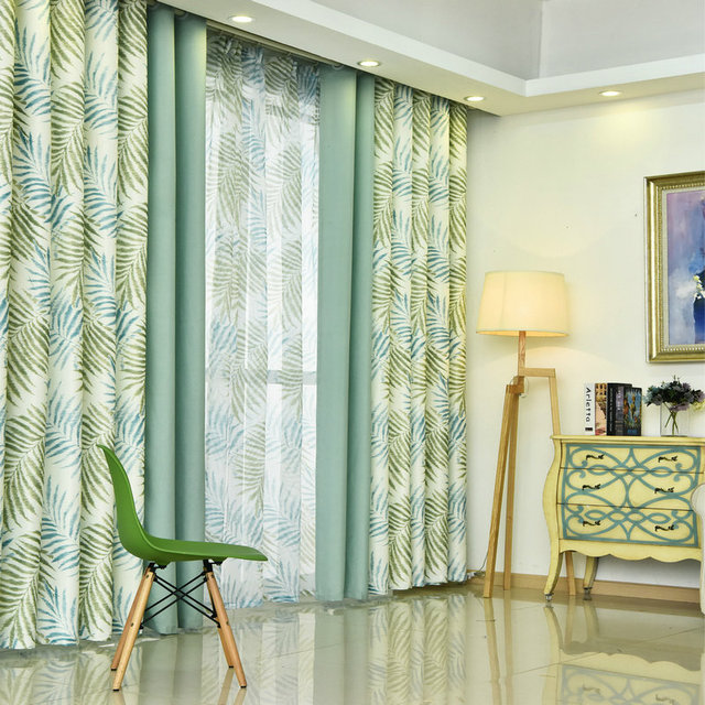 Modern Style Small Fl Printed Curtain For Kitchen Blackout Green Curtains Window Drape Panels
