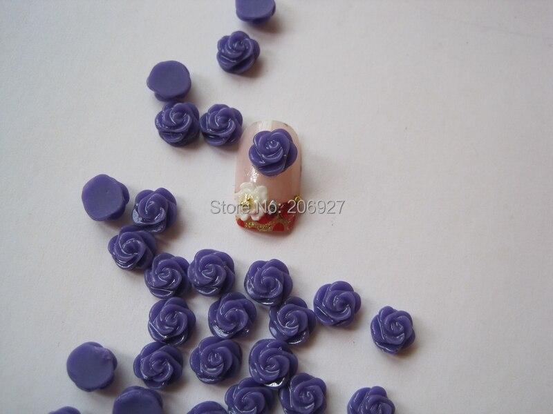 Rf13-7 30 шт. милый маленький темно-фиолетовый цветок розы Форма ногтей смола украшения Outlooking
