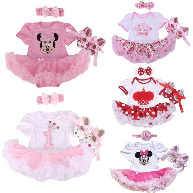 Conjuntos de roupas infantis da menina do natal do bebê 3 pcs terno princess tutu romper dress/trajes bebe macacão xmas da festa de aniversário vestido