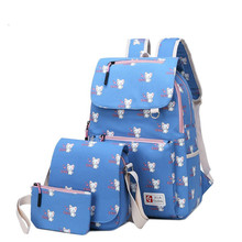 купить 3 pcs School Bags Teenagers girls fashion Cat Printing Backpack Women Backpack set Ladies Casual travel Rucksack laptop backpack дешево