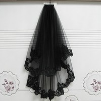 Black Wedding Veils With Comb Lace Two Layers Tulle Short Bridal Veil Accessories For Halloween Party