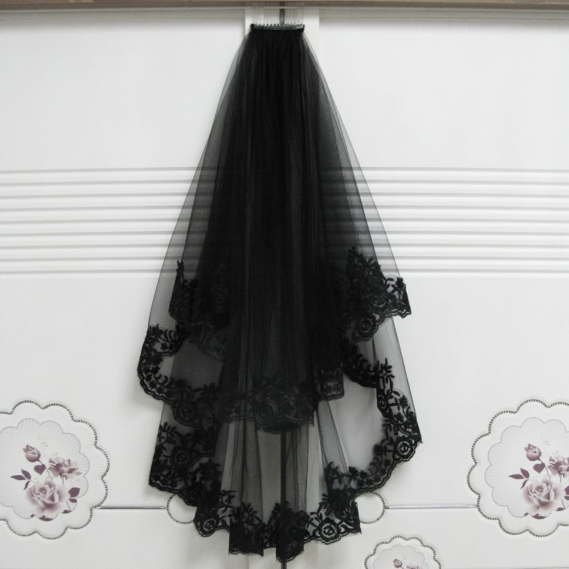 Black Wedding Veils With Comb Lace Two Layers Tulle Short Bridal Veil Accessories For Halloween