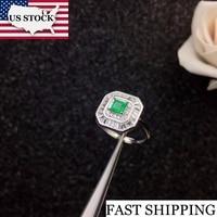 Uloveido Women Natural Green Emerald Ring 925 Sterling Silver Princess Cut Gemstone Birthstone Rings Wedding Jewellery 20% FJ305