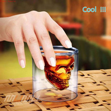 80/120/200ml Transparent double-layer personalized creative skull glass cup cocktail liquor Champagne wine whisky beer Drinkware