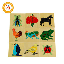 3D Animals Puzzle Jigsaw Board for Kids Toys Montessori Children Plants  Educational Teaching Aids Wooden Puzzles Game BO003 kids wooden montessori material animals jigsaw puzzle educational toys for children wood tangram memory flag teaching aids