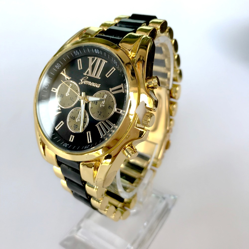 Ouriner Big Dial Metal Women Watch Leopard Amber Golden Silver Fashion Luxury Stainless Men quartz wristwatch Geneva style S0084 l 10 women s stylish petals style bracelet quartz analog wristwatch golden white 1 x lr626