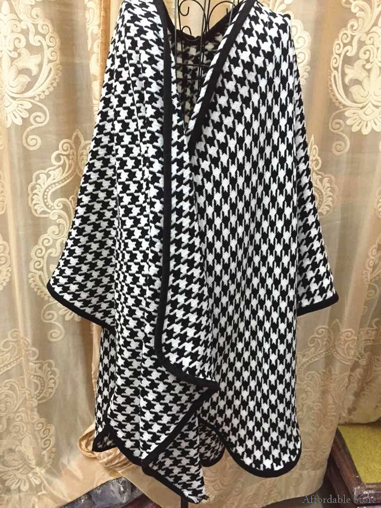 Autumn and winter new lady cape shawl dual-use scarf thickened fork Houndstooth shawl scarf