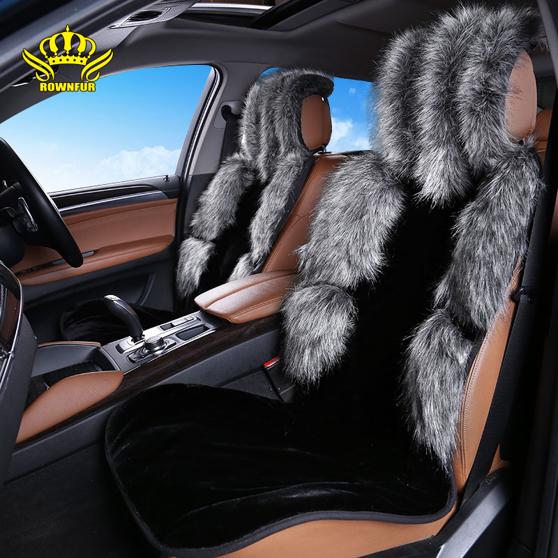 1pcs For Front car seat covers faux fur cute interior accessories cushion styling seat cover Raccoon+ sheepskin faux fur EN1