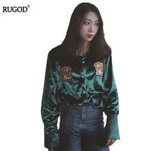Polo Femme Long Sleeve Women Polo Shirt Tiger Head Embroidery Cashmere korean women poloshirt polos women solid plain tops
