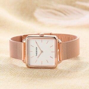 Image 2 - 2019 패션 여성 시계 쿼츠 로즈 골드 스퀘어 시계 여성 스테인레스 스틸 밴드 손목 시계 럭셔리 유명 브랜드 숙녀 시계