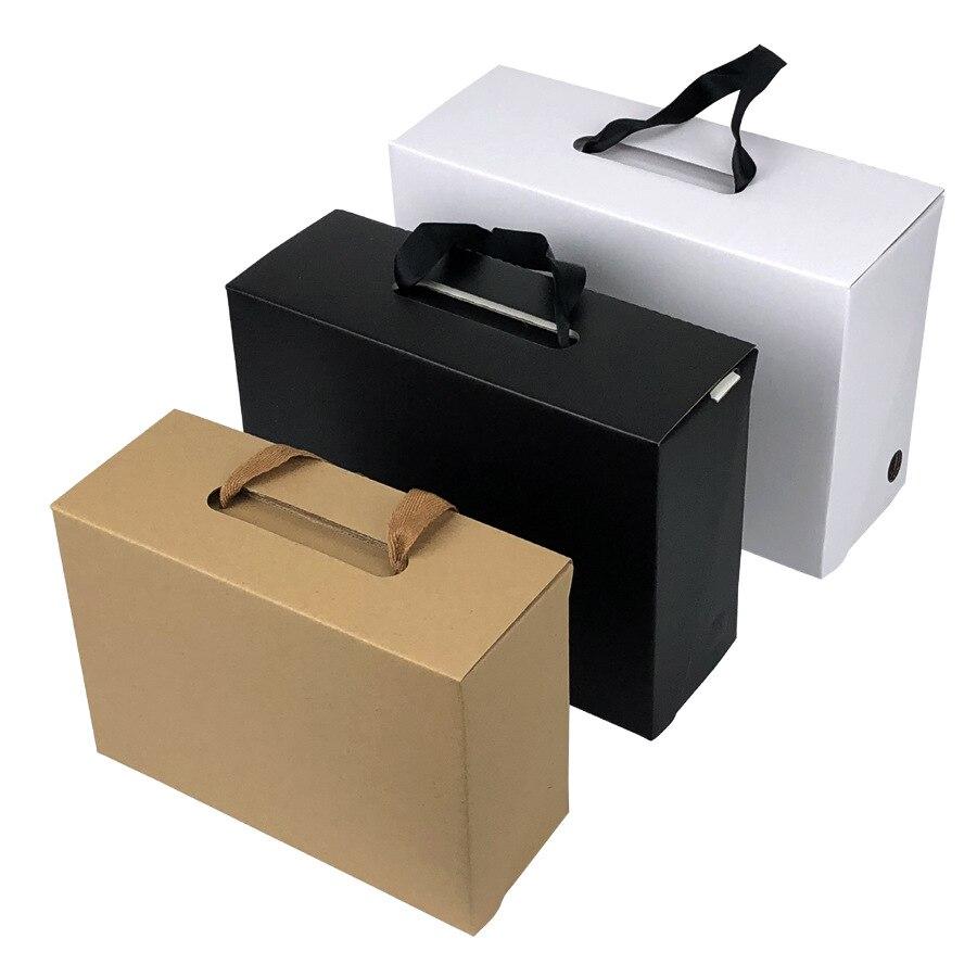 50pcs/lot White/Black Kraft Paper Gift Box Children's shoe box Portable Case Women men shoe box 4 Size Custom logo-in Gift Bags & Wrapping Supplies from Home & Garden    2