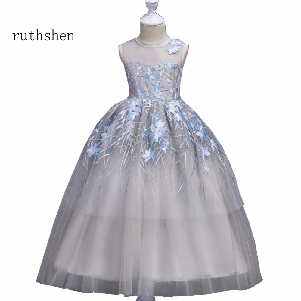 ruthshen The Latest   Flower     Girl     Dresses   Real Photo Princess Appliques Floor-Length A Line Sleeveless   Flower     Girl     Dress   2018