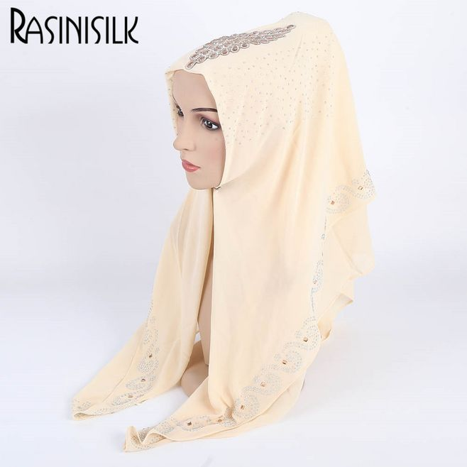 New Women Arab Turkish Hijab Scarves With Luxury Diamond Female Chiffon Rhinestone Muslim Scarf Islam Shawl Headscarf Turban