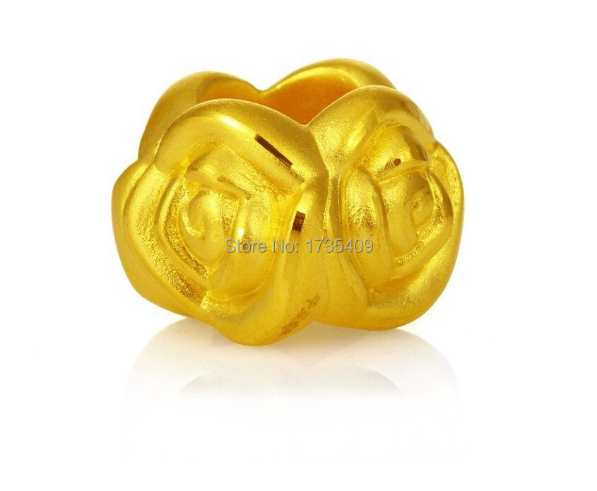 все цены на Authentic 24K 999 Yellow Gold Pendant /3D Lucky Rose Pendant / 1.18G