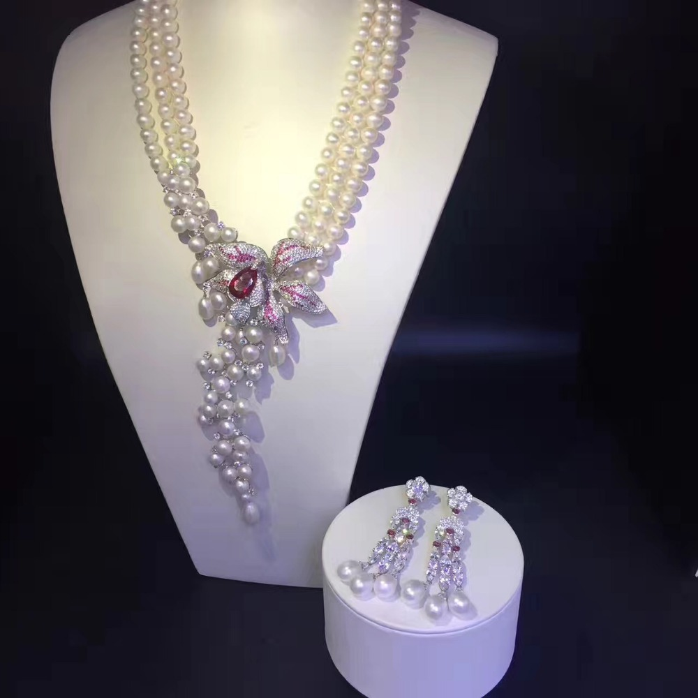 100% real cultured fresh water pearl necklace and drop earring jewerly set 925 silver flower multi layers party necklace
