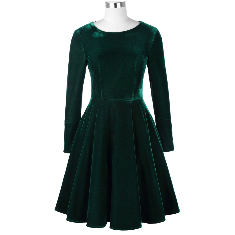 Belle Poque Fashion Women Dresses Office Green Vintage Tunic Female Vestidos Autumn Winter Long Sleeve Casual Velvet Swing Dress 6