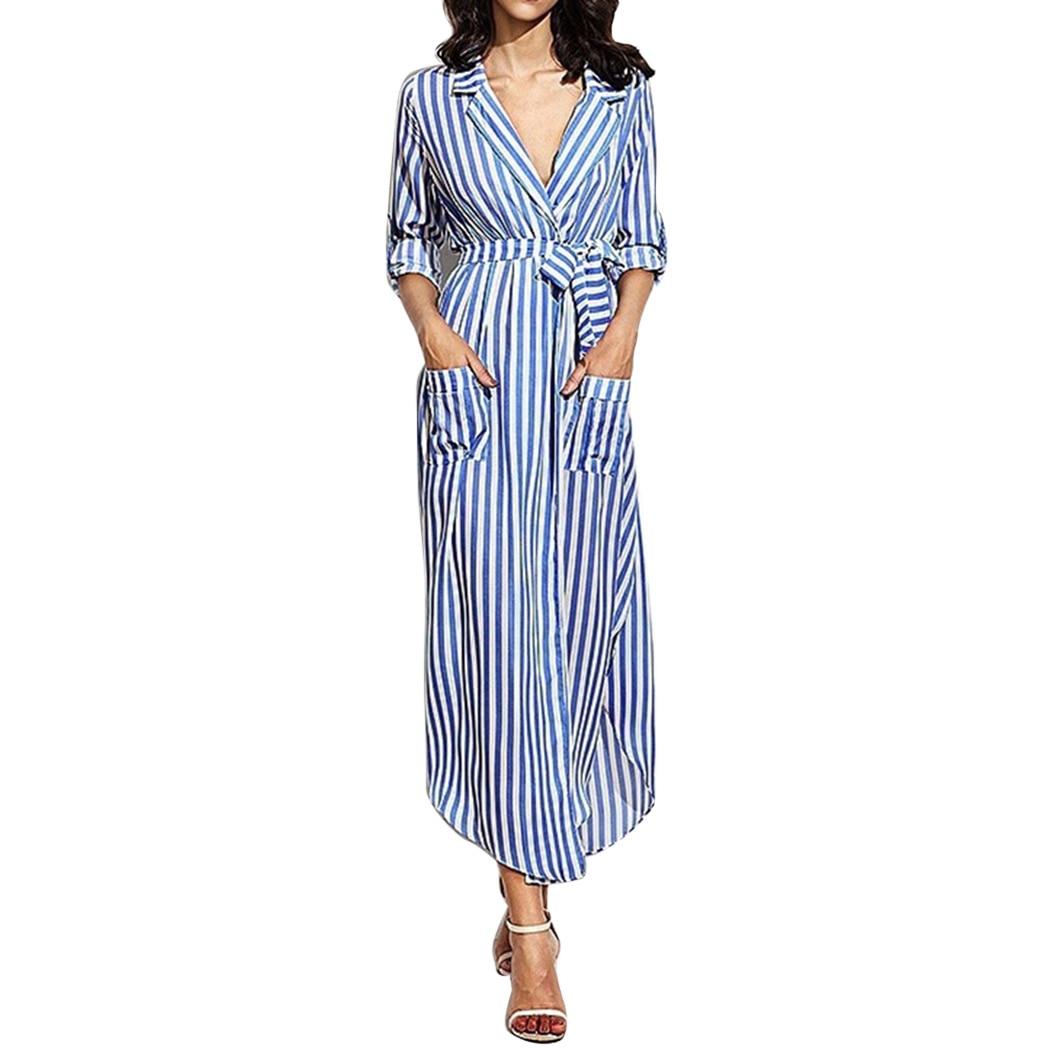 ae364709a97d9 CLEMIA 2018 Spring Women Long Maxi Striped Shirt Dress Ladies Sexy ...
