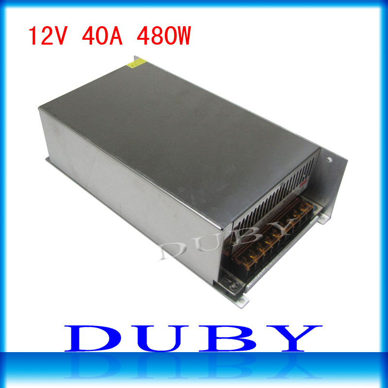 10piece/lot Big Volume 12V 40A 480W Switching power supply Driver For LED Light Strip Display AC100-240V Free Fedex
