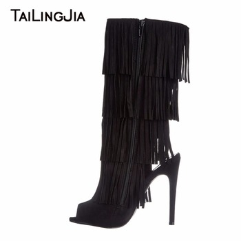 Fashion Peep Toe Summer Boots Woman Black Supper High Heel Long Boots Stilettos Ladies Shoes With Zipper Fringe Sexy Woman Shoes