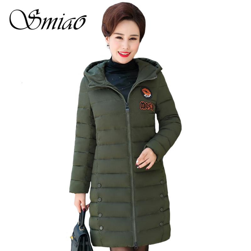 Smiao 2017 Women Winter Cotton Padded Jackets Hooded Plus Size Casual Thick Warm Slim Long Autumn Outerwear Female Parkas L-4XL four flowers print warm thick cotton padded long coat autumn new casual slim jacket women winter casual outerwear